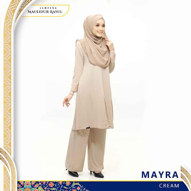 Mayra Jubah Seluar Plain Tanpa Gosok Cream
