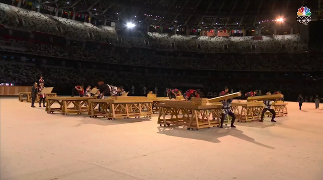 Tokyo 2021 Olympics Opening Ceremony ancient Japanese carpentry wood