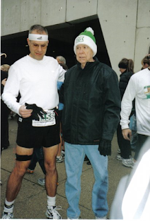 With my dad prior to running my first marathon - Gregory A. Johnson