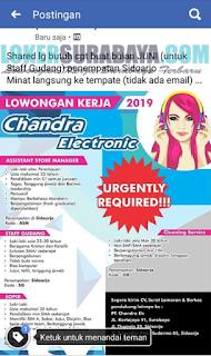Loker Surabaya Terbaru di Chandra Electronic Mei 2019