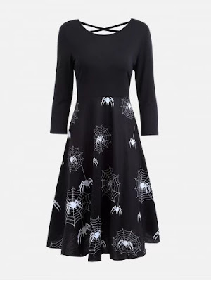Halloween Spider Web Print Casual Flare Dress - Black - Xl