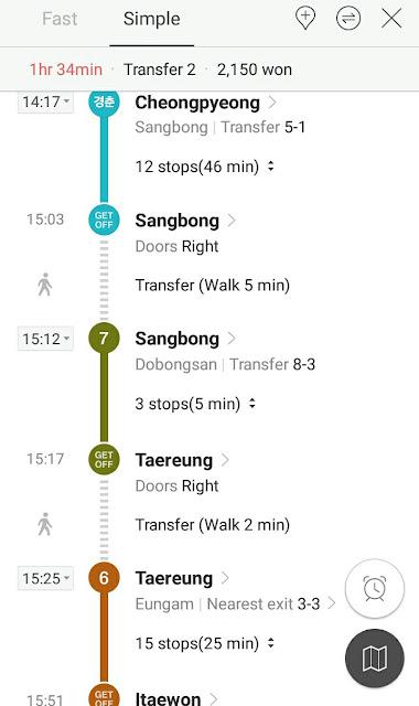 rute metro dari stasiun cheongpyeong ke itaewon