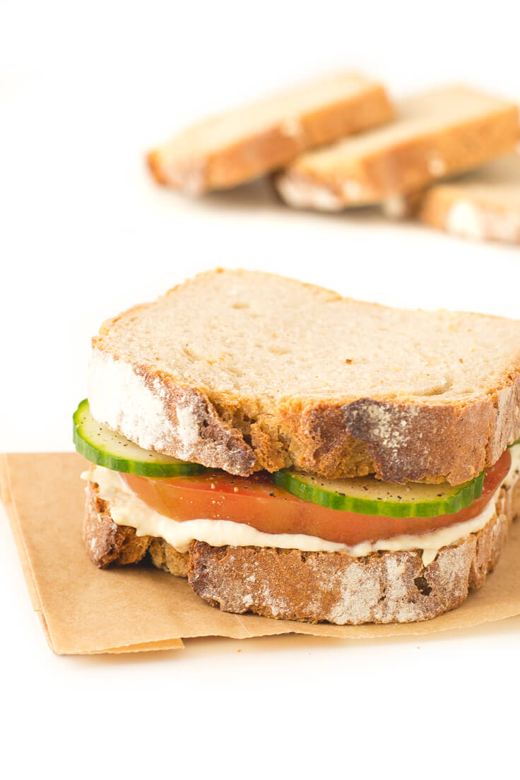 Hummus Sandwich: Making vegan sandwiches is so easy. I like to include some fat or vegetable pate to be juicier and raw or cooked vegetables.