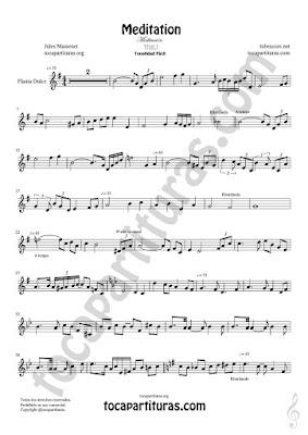 Flauta dulce y flauta de pico Partitura Fácil de Meditación Sheet Music Recorder Music Scores Más PDF/MIDI de Flauta dulce