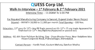 12th, ITI, Diploma Pass and Appeared Candidates Job Vacancy Walk In Interview For Reputed Manufacturing Company In Sanand, Gujarat