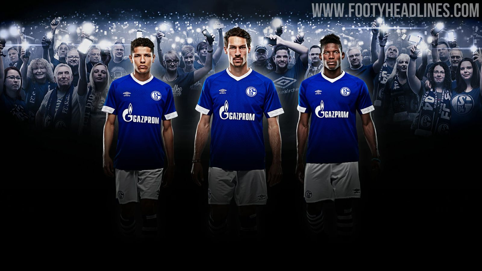 10b9329654 The shorts of the Umbro Schalke 2018-19 home kit are white with a blue  stripe along the lower rear, while the socks are blue with white hoops.