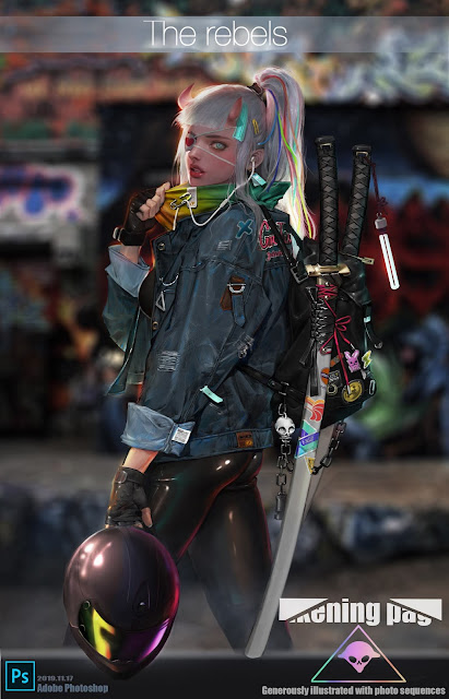 Cyberpunk Samurai Biker Girl by Crooked Monkey