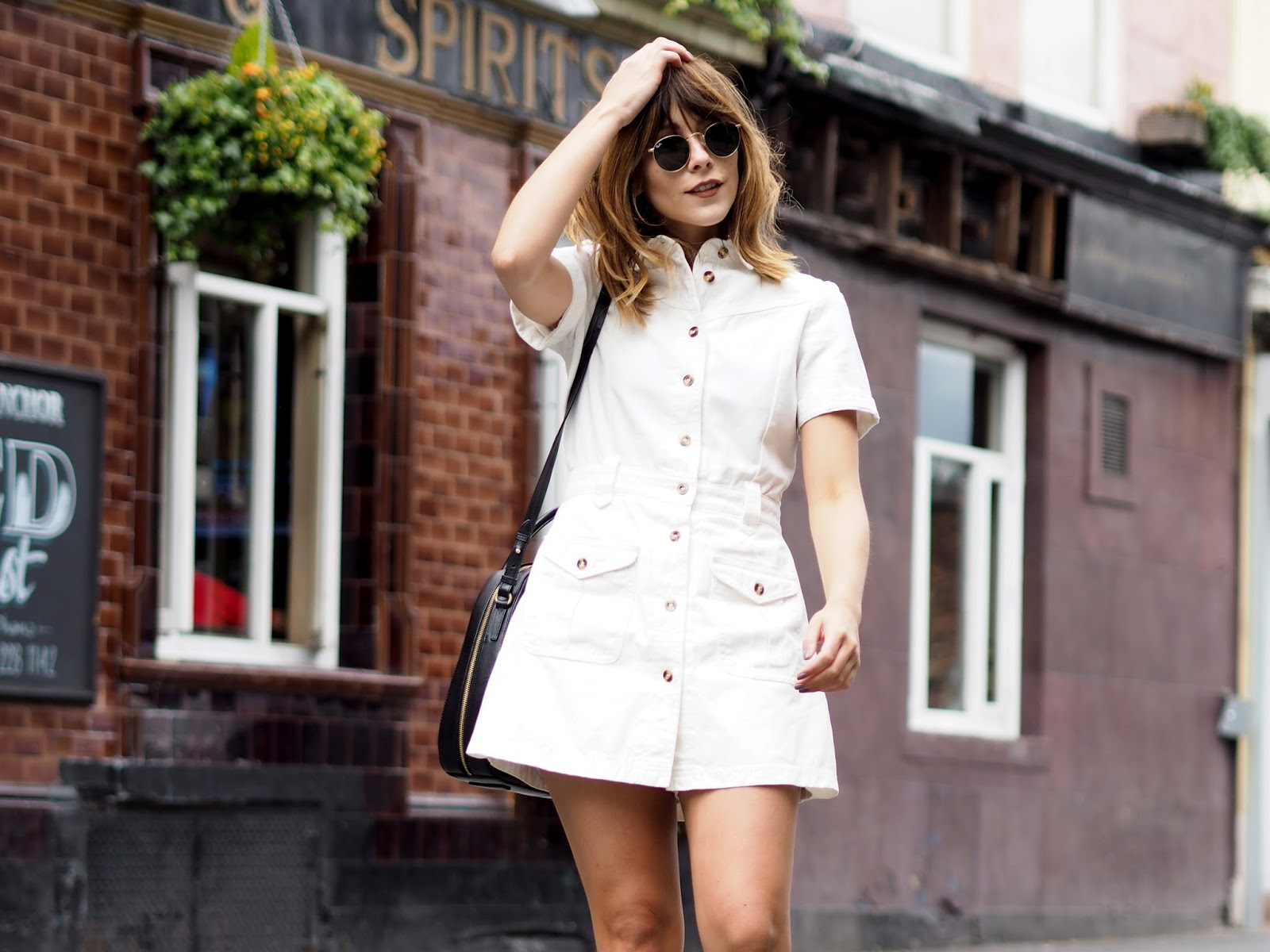Monochromatic sixties summer look with Lost Ink Dress at ASOS and Radley Handbag