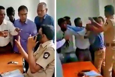 ट्रैफिक चेकिंग के बाद छुटभैये नेताओं ने TI साब को मारे दनादन चांटे
