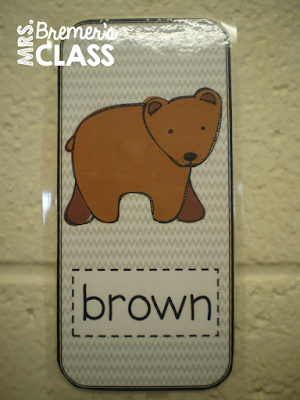 Brown Bear story activities and color word Kindergarten centers