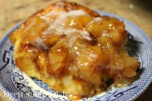 Buttery biscuits baked in apple pie filling with brown sugar, cinnamon and extra apple pie spices, finished with a powdered sugar glaze, make for a belly-warming sweet treat.