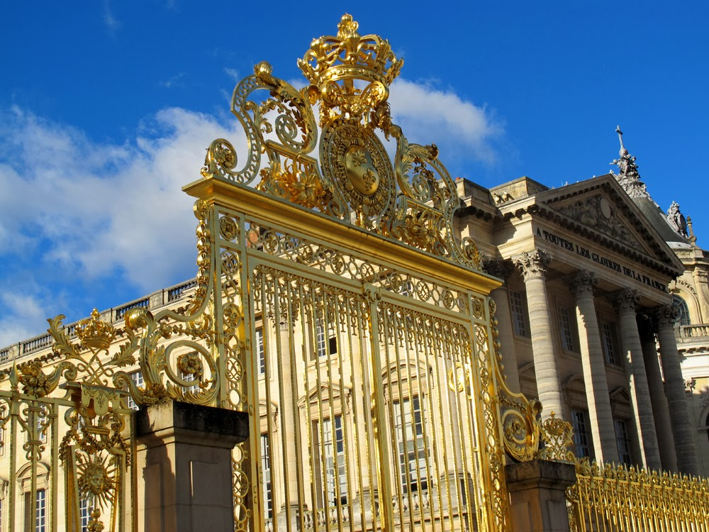 Palace of Versailles gilt gold gate, Paris, France