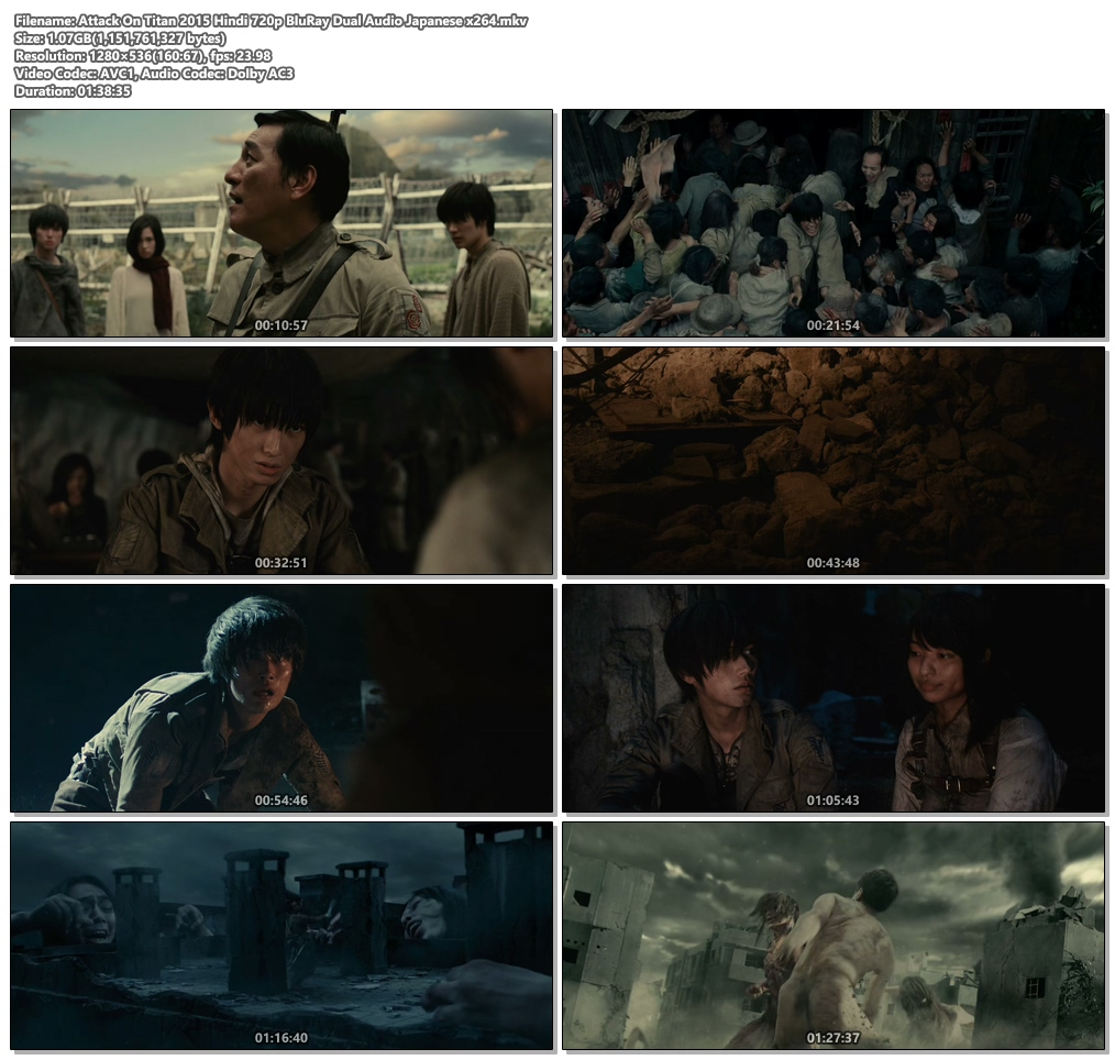 Attack On Titan 2015 Hindi 720p BluRay Dual Audio Japanese x264 | 480p 300MB | 100MB HEVC Screenshot