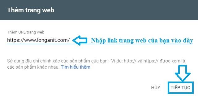 Thêm sản phẩm trang web của bạn vào Google master tools