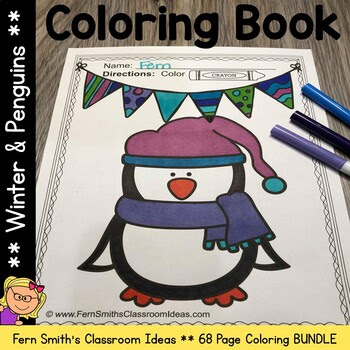 Winter and Penguins Coloring Pages Bundle - 68 Pages of Winter Penguin Coloring Book Fun
