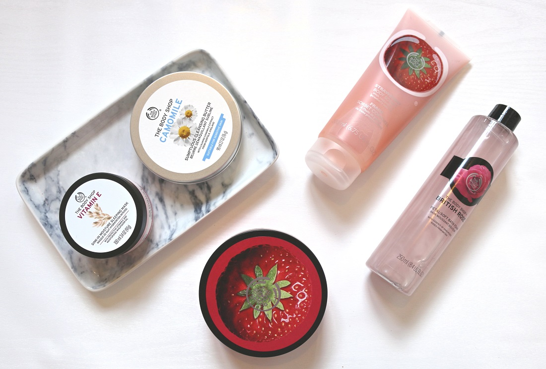 The Body Shop Haul Strawberry Body Butter, Camomile Cleansing Butter, Vitamin E Sleeping Mask, Strawberry Body Sorbet, British Rose Bath Foam.