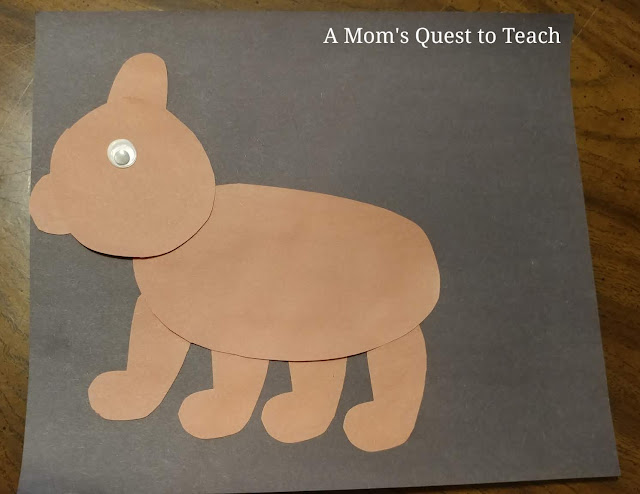 brown construction paper bear craft completed