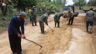TMMD Kodim 0320/Dumai Yang Paertama Lakukan Penimbunan Jalan
