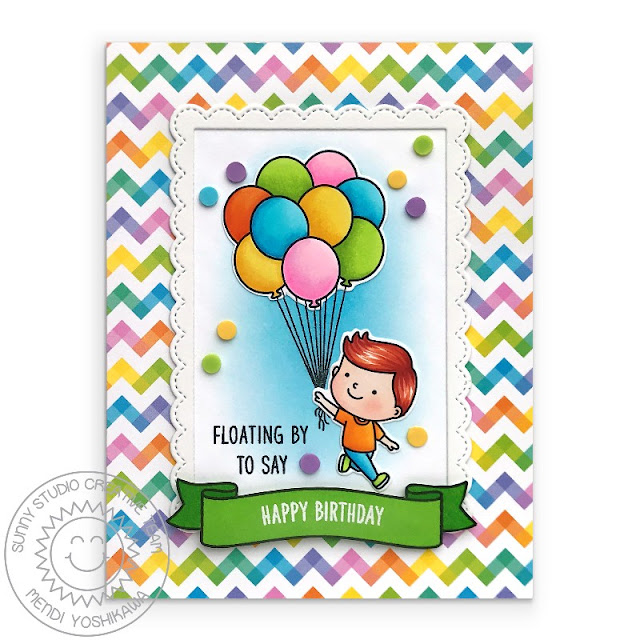 Sunny Studio Blog: Birthday Balloon Rainbow Chevron Card (using Spring Showers, Floating By & Banner Basics Stamps, Fancy Frames Rectangle Dies & Spring Fling Paper)