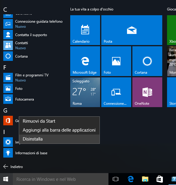Windows 10: Disinstallare App normalmente