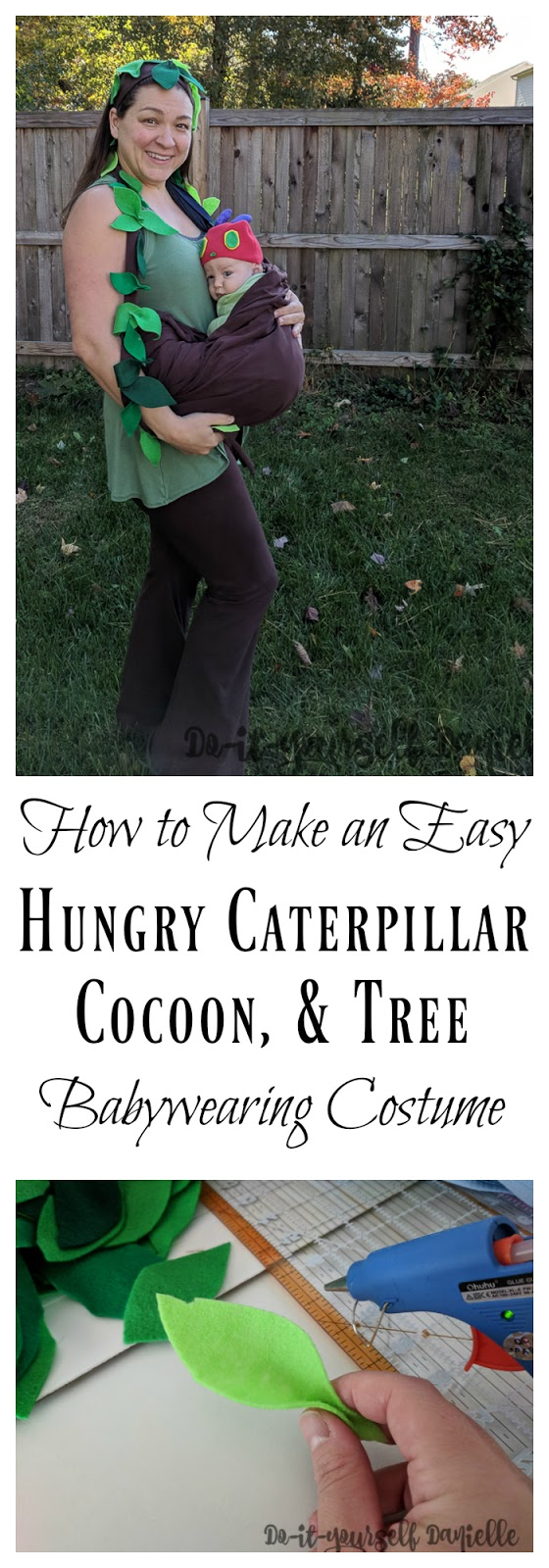 DIY Tree costume for mom with the baby dressed as Hungry Caterpillar in a cocoon.