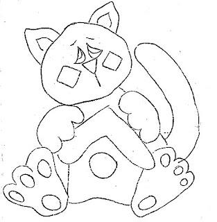 risco para pintar gato com casinha