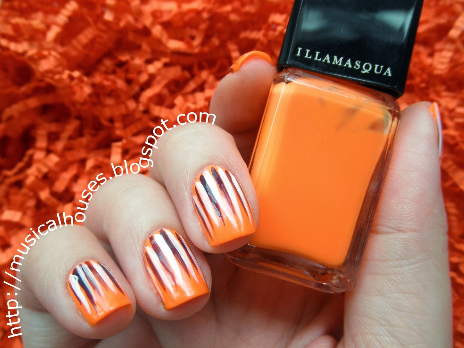 Halloween Nail Art: Neon Orange, Purple and White Stripes ...