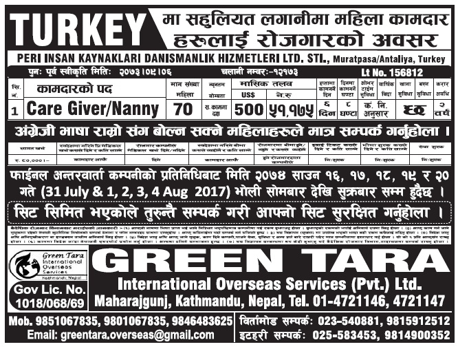 Jobs in Turkey for Nepali, Salary Rs 51,175
