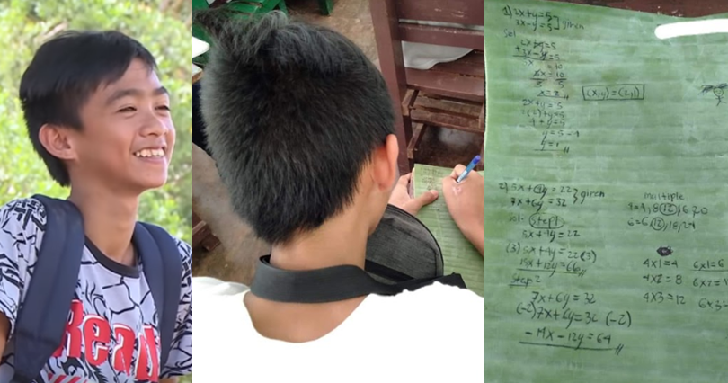 Student uses banana leaf as notebook to write down his lessons
