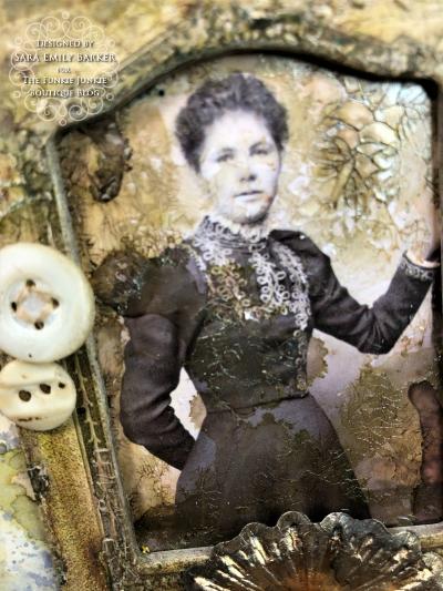 Sara Emily Barker https://sarascloset1.blogspot.com Vintage Mixed Media Card Tim Holtz Sizzix Crochet Burst 3D Impresslits 3