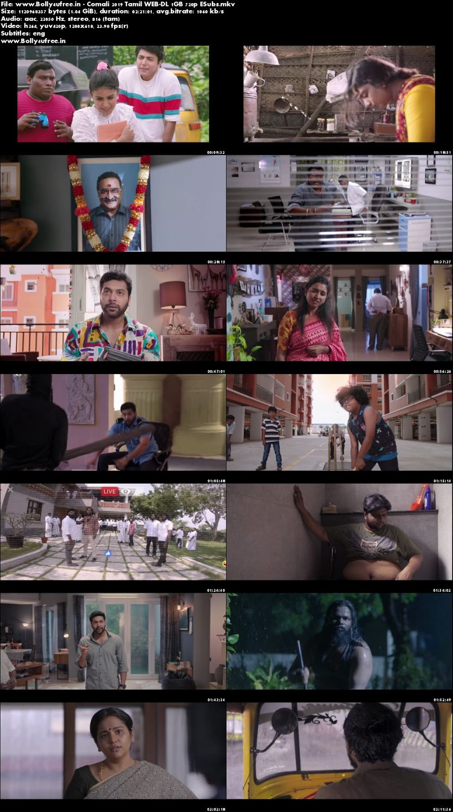 Comali 2019 Tamil WEB-DL 1GB 720p ESubs