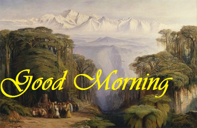 good morning message with painting image