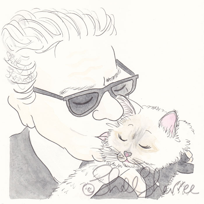 Karl Lagerfeld and Choupette portrait illustration © Shell Sherree all rights reserved