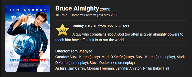 Bruce Almighty (2003) Download Full MovieDual Audio {Hindi-English} BluRay 480p [350MB] || 720p [800MB] || 1080p [3.2GB]