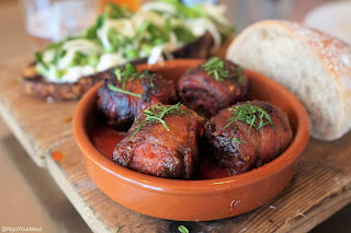 Chorizo-Stuffed Medjool Dates with Bacon at Avec in Chicago