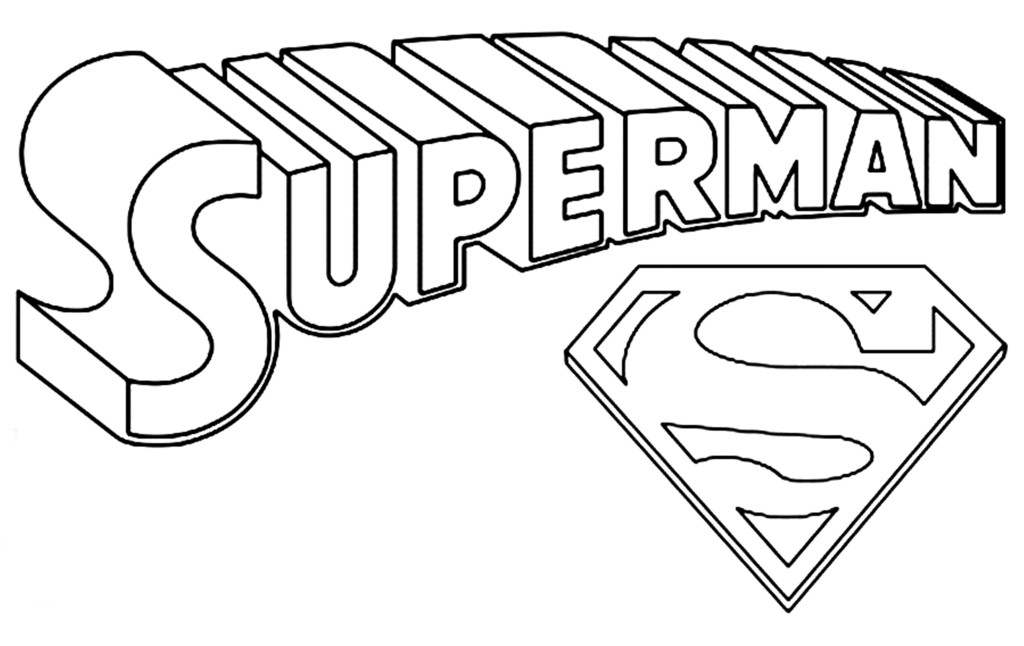 Dessins Et Coloriages Page De Coloriage Grand Format A Imprimer Les Lettres De Superman En Relief 3d Et Le Celebre Logo Avec La Lettre S