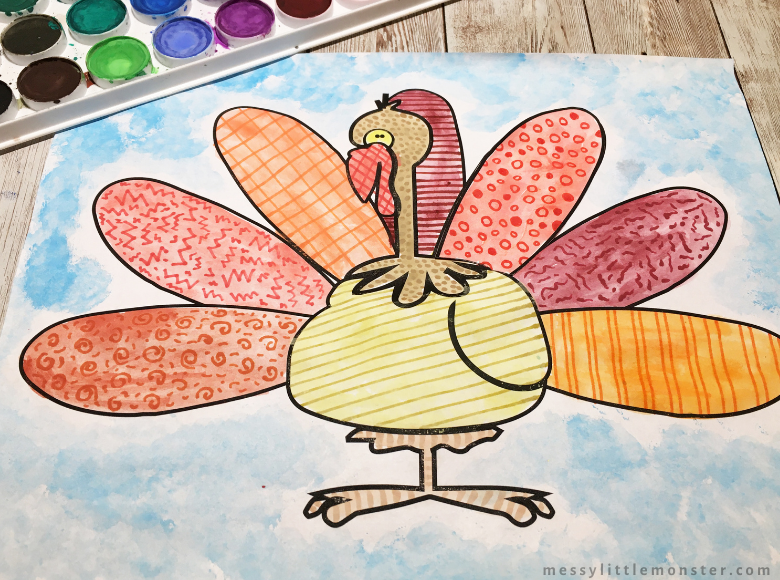 zentangle art turkey craft for kids
