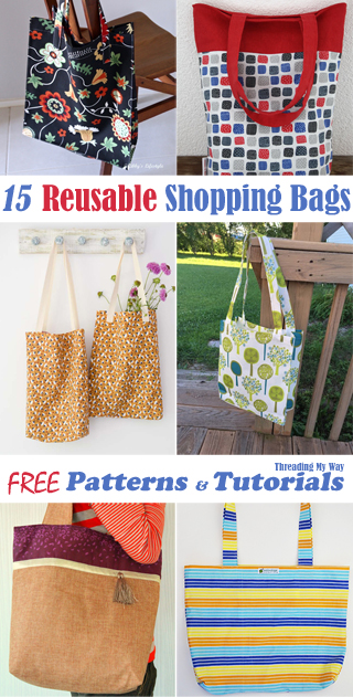 Free reusable shopping bag, market tote, grocery bag patterns & tutorials ~ Threading My Way