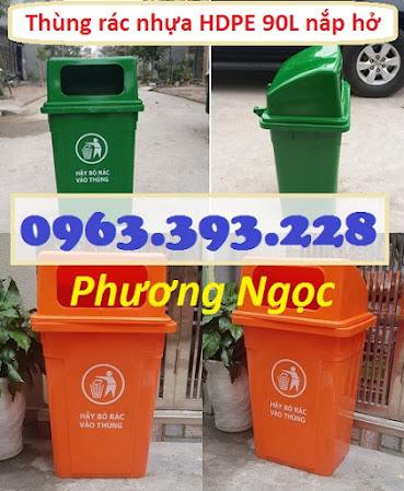 Thùng rác 90 Lít nắp hở nhựa HDPE, thùng rác cửa ngang, thùng rác công cộng TR90LNH6
