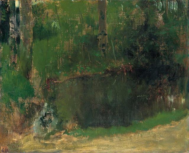 Эдгар Дега - Пруд в лесу (ок.1867-1868)