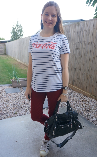 stripe coca-cola logo tee with burgundy skinny jeans Adidas superstar, black balenciaga part time bag sgh g21 silver   away from blue