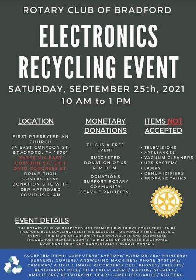 9-25 Electronics Recycling Event, Bradford