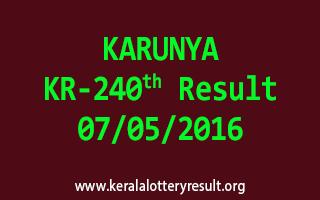 KARUNYA KR 240 Lottery Result 7-5-2016