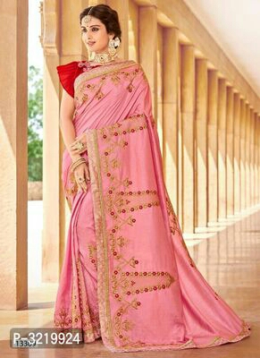 Partywear Silk Blend Embroidered Sarees