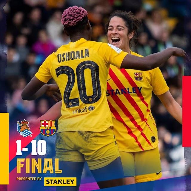 Oshoala Bags Brace, Assist As Barcelona Ladies Thrash Sociedad; Win Maiden Spanish Super Cup