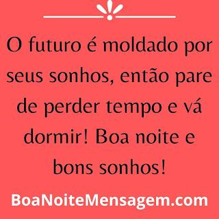mensagens de boa noite engraçada- O futuro é moldado por seus sonhos, então pare de perder tempo e vá dormir! Boa noite e bons sonhos!