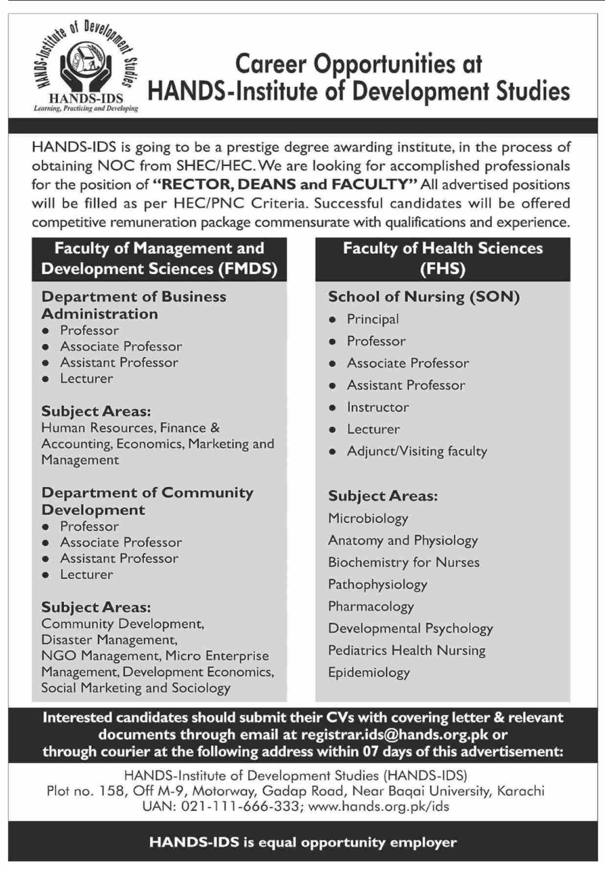 registrar.ids@hands.prg.pk - HABDS-Institute of Development Studies Jobs June 2021 Latest Vacancies