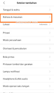 Bahasa masukan di Hp Xiaomi