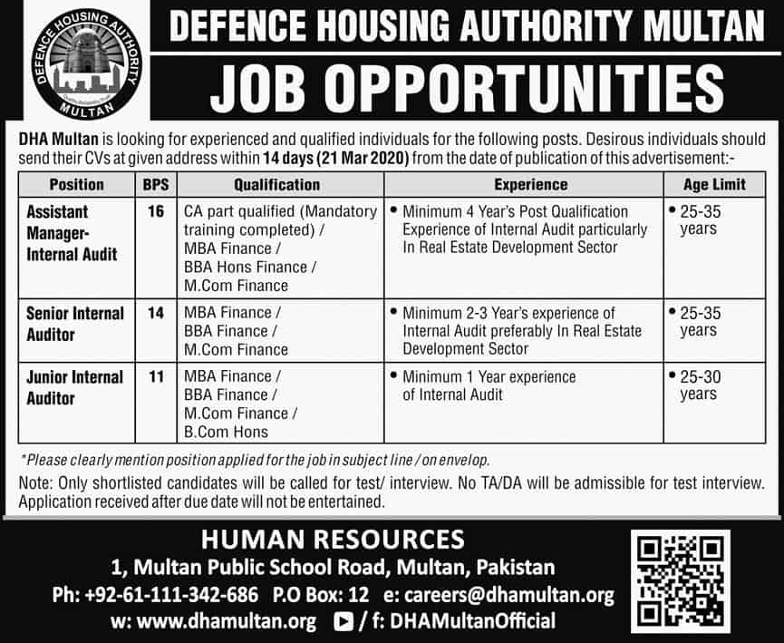 Jobs in Defence Housing Authority Multan Latest 2020