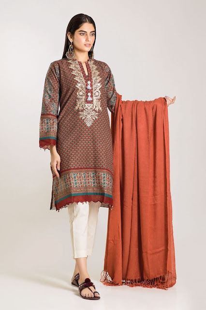 khaadi winter unstitched brown color with shirt and shawl dress